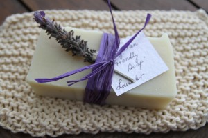 gifted lavender soap and knitted cotton washer